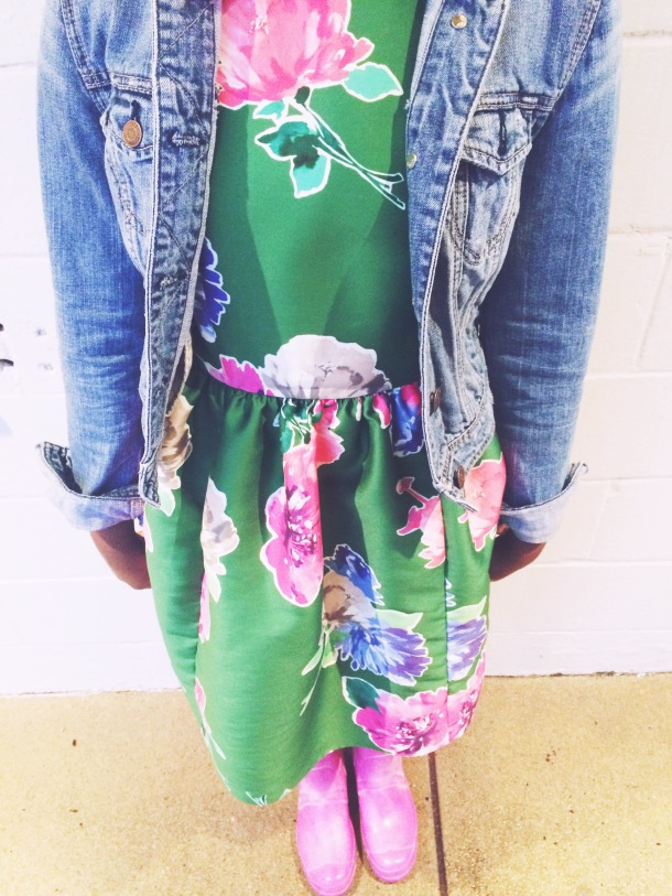 floral dress, denim jacket + rain boots